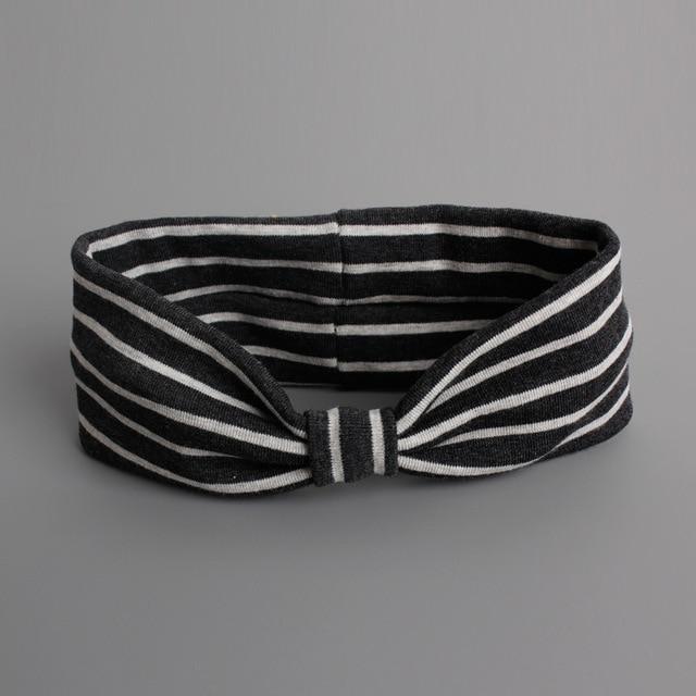 #61020 1pcs Cotton Headband Turban Elastic Hair Bandage/Diademas Bebes Ninas Striated Bow Knot Headbands