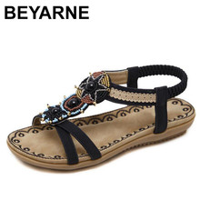 BEYARNE 2018 Woman Sandals Bead Bohemian Clip Toe Comfortable Thong Shoes Boho Elastic Band Back Strap Flat Beach Shoes