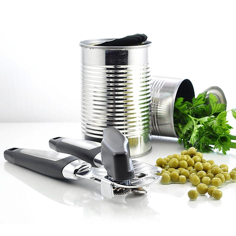 1Pc Hand-actuated Plastic Professional Kitchen Tool Safety Can Opener Side Cut Easy Grip Manual Opener Knife For Cans Lid
