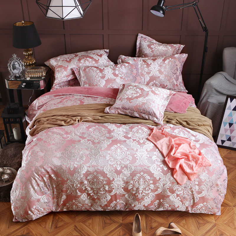 Luxury Thick Winter Warm Flannel 3D Jacquard Bedding Set European Palace Duvet Cover Bed Sheet Pillowcase Queen King Size 4/6PcsLuxury Thick Winter Warm Flannel 3D Jacquard Bedding Set European Palace Duvet Cover Bed Sheet Pillowcase Queen King Size 4/6Pcs