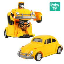 2019 Kids Toys Sound Light Yellow Cars Universal Electronic Deformation Car Robot Boys for Gifts 1:24 2IN1