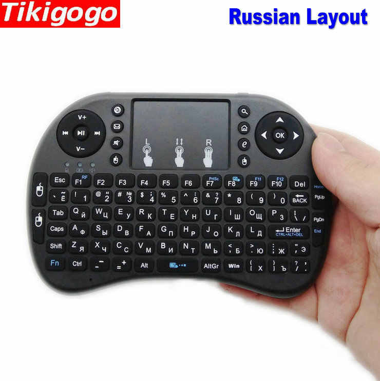 Tikigogo I8 2.4G Nirkabel Udara Mouse Bahasa Rusia Tata Letak Mini Keyboard Touchpad Remote Control untuk Android Smart TV Box untuk windows PC