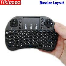 Controle remoto tikigogo i8 2.4g, controle remoto sem fio, layout russo, mini teclado, touchpad, para caixa de smart tv android computador do windows, pc