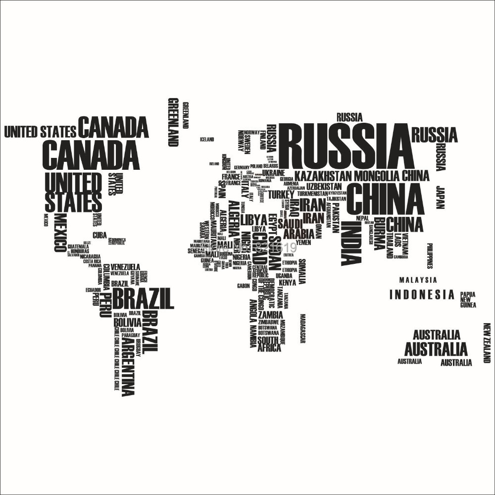 Free Shipping Country Names World Map Removable Vinyl Wall Sticker ...