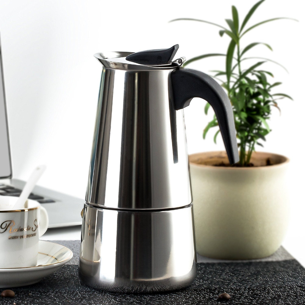 Stainless Steel 2 8Cup Stovetop Espresso Coffee Maker Espresso Maker Stainless Steel Moka Pot ...