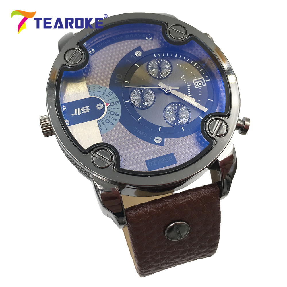 TEAROKE Men Quartz Watch Big Face Dial Leather Strap Clock Date Display Fashion Blue Ray Military Wristwatches Male Black Brown weide black watch men casual leather strap quartz yellow dial analog display water resistant big fashion high quality male clock