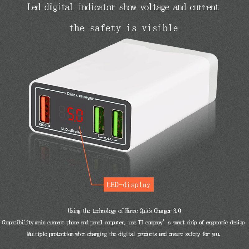 3 Ports Usb Schnelle Ladegerät Led Spannung Strom Display Quick Charge 3,0 Lade Adapter Für Iphone Ipad Samsung Huawei Xiaomi QualitäTswaren
