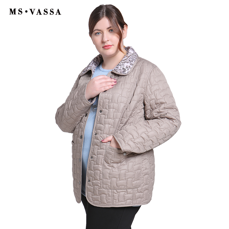 MS VASSA Autumn Women jacket Double sided w ladies casual jacket with flock turn down collar plus size Cota S   7XL outerwear-in Jackets from Women's Clothing    1