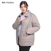 MS VASSA Autumn Women jacket Double sided w ladies casual jacket with flock turn down collar plus size Cota S 7XL outerwear