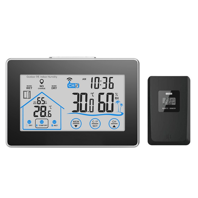 digital desk clock touch screen indoor outdoor Thermometers Hygrometers white backlight LCD Display Wireless Weather Forecast