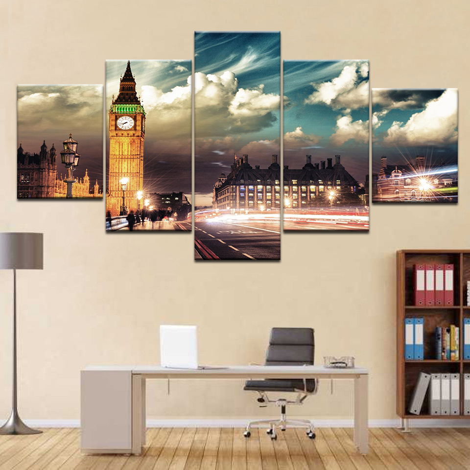 Home Painting Wall Art London City Light Landscape Decorative Pictures 5 Panel Big Ben Sky Clouds Canvas Decorations Frame