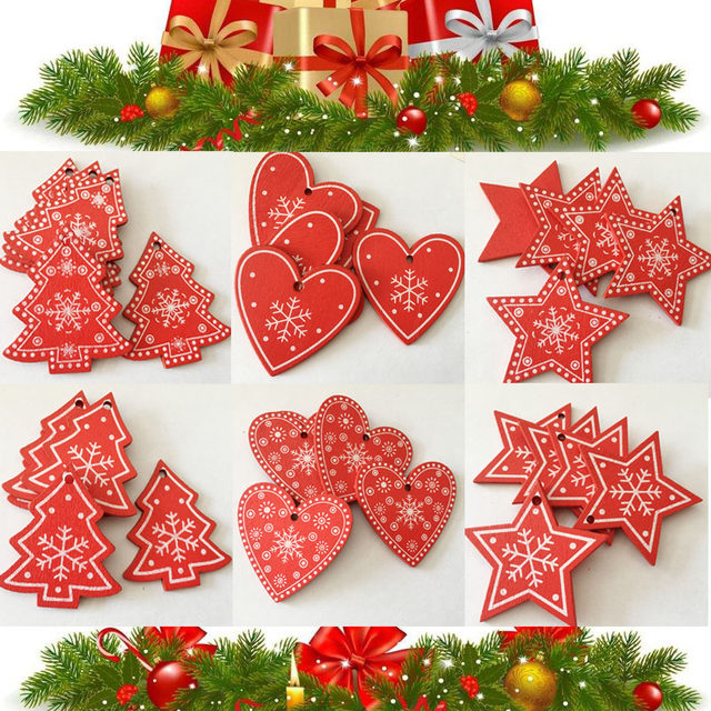 New 10pcs/Lot  Xmas Tree Decoration For Home Natural Wood Red 5CM Christmas Ornaments Snowflakes Pendant Hanging Gifts Wedding 27