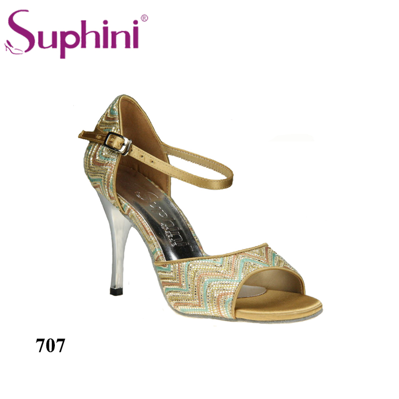 Անվճար առաքում Suphini Woman Open Toe Sandals, Ladies Party Shoes High Heel Tango Dance Shoes