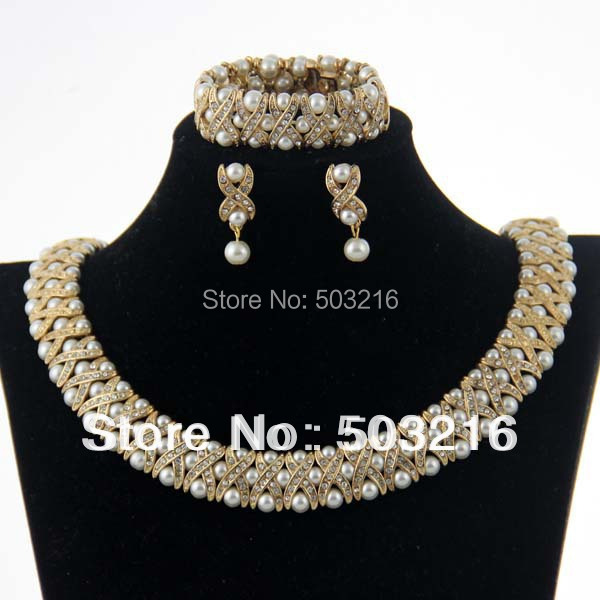 High Quality Clear Crystal Rhinestone 18 K Gold Plated Hot Sale Indian Necklace font b Earrings