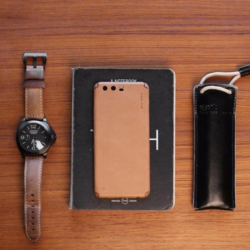 D-parc pour Huawei P10 Mobile Téléphone Étui En Cuir Ultra-mince Tout compris En Cuir Retour Couvercle en Aluminium pour Huawei De Protection Shell
