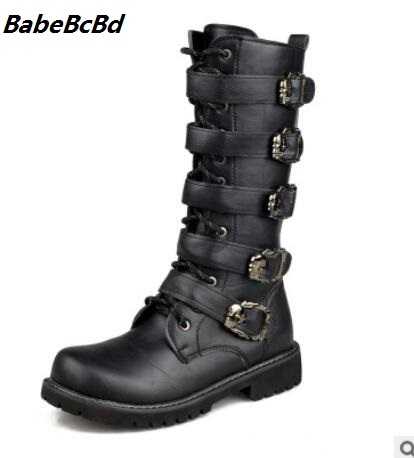 BabeBcBd Men Army Boots High Military Combat Boots Metal Buckle Punk Mid-calf Male Motorcycle Boots Lace Up Men's Shoes Rock