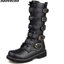 BabeBcBd Men Army Boots High Military Combat Boots Metal Buckle Punk Mid-calf Male Motorcycle Boots
