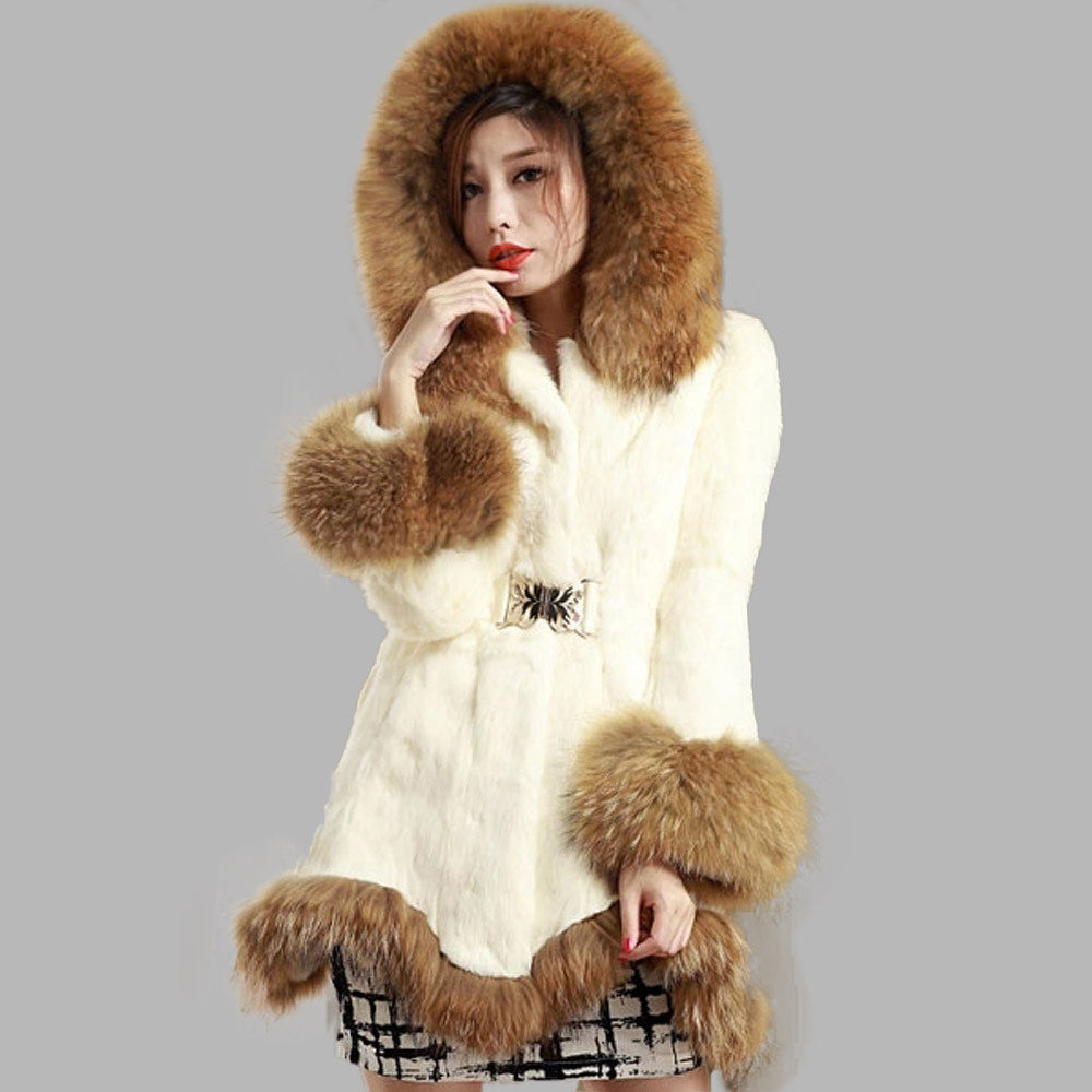 CY 162151 Women's Real Rabbit Fur Coat With Raccoon Fur Hood And ...