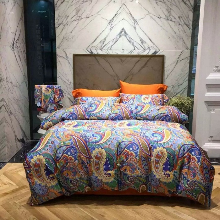 Egyptian Cotton Sheets Bedding Sets Paisley Orange Bed Sheet Duvet Cover Set Queen King Size Bedspread Linen Bedset Quilt Covers In From Home