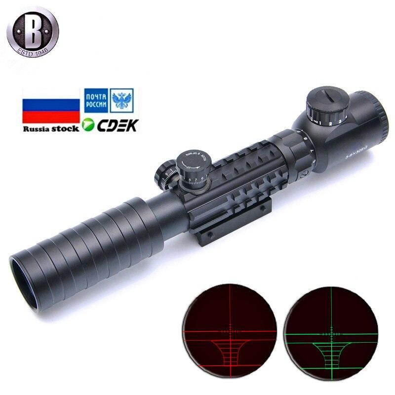 Bu 3-9x32EG Rifle táctico alcance rojo y verde punto iluminado retícula óptica vista Airsoft caza con cubierta de lente gratis