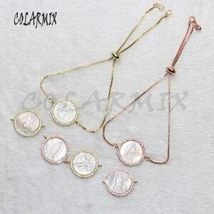 Image 4 - Pulsera de conchas para mujer, accesorios de piedras de concha, pulseras de joyería de cristal para mujer, joyería 5434, 10 piezas
