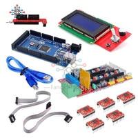 3D Printer RAMPS 1.4 REPRAP MENDEL PRUSA + Mega 2560 Board + 5pcs A4988 driver module + LCD 2004 RepRap Prusa i3 for Arduino