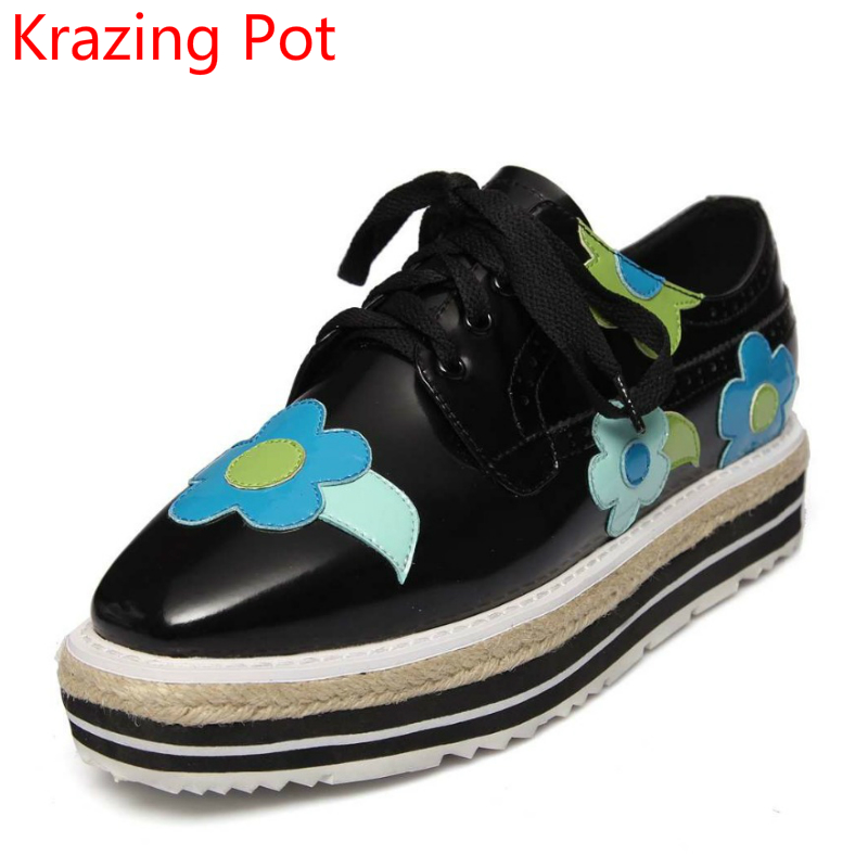 Shoes Woman Flowers Fashion Genuine Leather Mixed Color Round Toe Handmade Sweet Med Heel Lace Up Wedges Pumps Oxford Shoes L33
