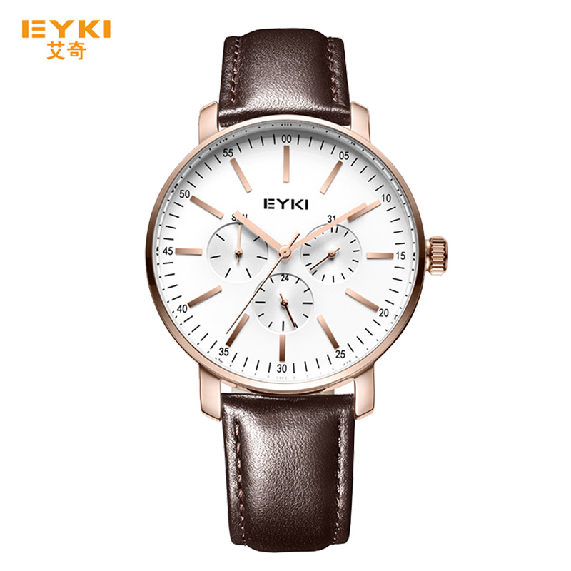 EYKI Wristwatch Mens Sport 2018 Fashion Leather Japanese Movement Male Clock Waterproof Simple White Dial Watch relojes hombre agelocer brown watch a classic timepiece sport dual dial mens casual wristwatches wristwatch free shipping relojes para hombre