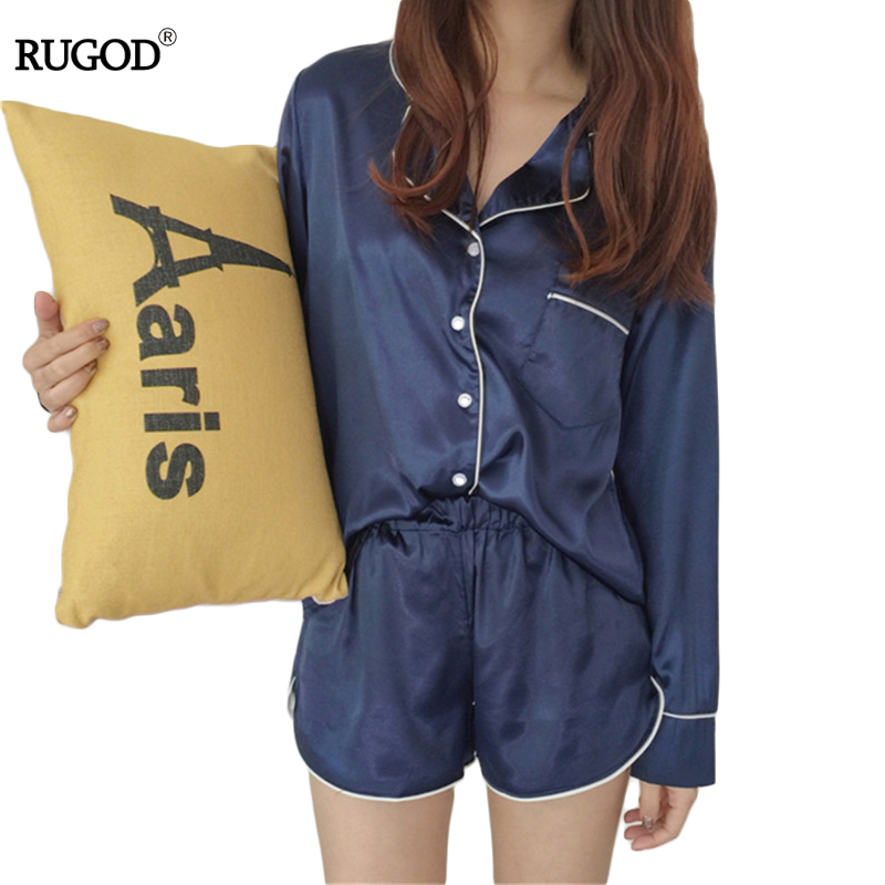 Womens Silk Satin   Pajamas     Set   2018 Fashion Sexy Two Piece   Set   Female Sleepwear Long Sleeve Shirt and Shorts Pyjama Women