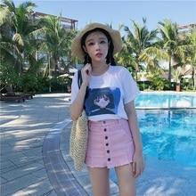 FREE SHIPPING !!! Women Streetwear Mini High Waist Denim Pink Skirt JKP396