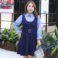 TUHAO 2018 Autumn Winter Office LADY Loose Elegant DRESSES Fake Two Piece Mid Dress Pretty BLUE Large Size 4XL 3XL LQ26