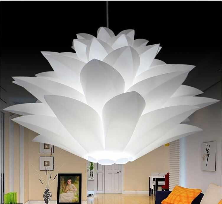 Prix le plus bas en vente bricolage moderne pomme de pin pendentif lumière créative lily lotus roman led e27 35/45/55 cm iq puzzle lampe blanc