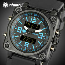 INFANTRY Men Sports Watches Square Face Dual Display Wristwatches Rubber Strap Alarm Clock Aviator Military Relojes Hombre