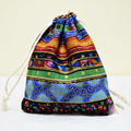 Ethnic Style Mini jewelry Storage Bags Handmade packaging Bag Drawstring Jute Coin Purse Burlap Cloth Jewelry Bags Candy Gifts