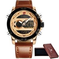 Naviforce Luxury Brand Fashion Dual Display Digital Quartz Watch Men Waterproof Sport Watches Men S Leather
