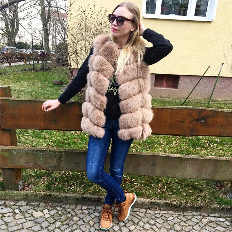 Renard Femmes Épaisse linght Réel Hiver Khaki Green 70 Fourrure Manches 2018 Wine Peau white De Casual Bffur Tout Chaude brown pink apricot blue Manteaux Cm Color grey black red natural Grey dark red camel Parka Gilet red Est khaki silver wCE7Hq0