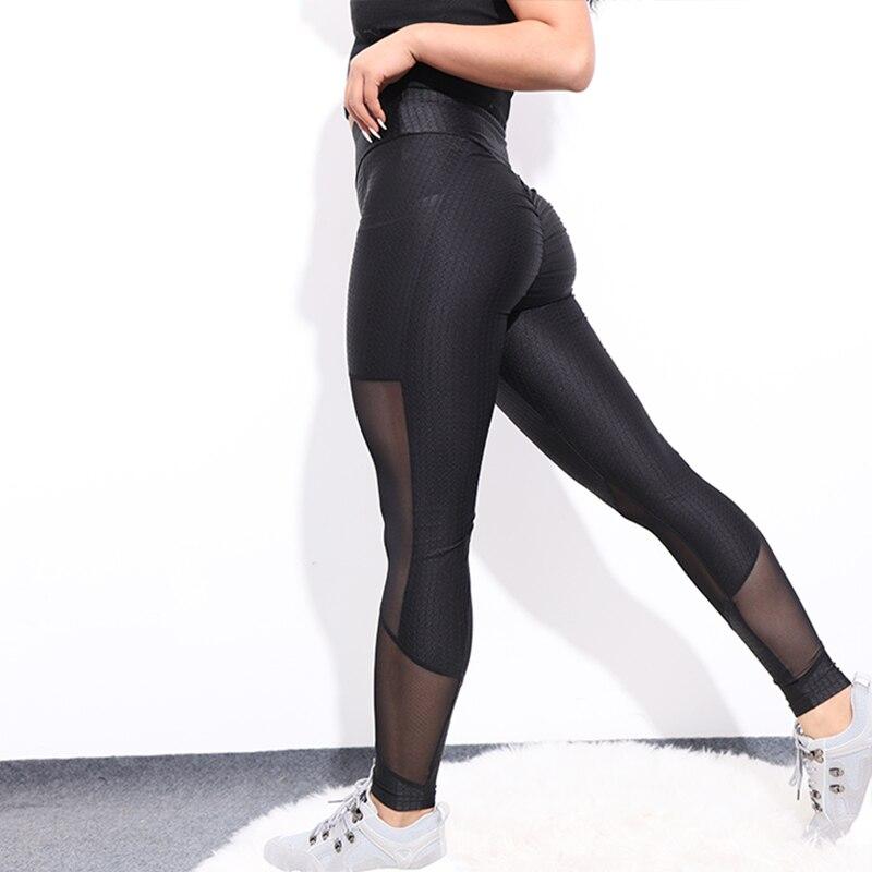 CHRLEISURE Mesh Leggings Women Workout Activewear Sexy Push Up Pants Elastic Breathable Patchwork High Waist Fitness Leggings