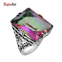 Szjinao Wholesale Fashion Ring Fine Gold and Silver Jewelry Flowers Wholesale Rainbow Topaz 925 Sterling Silver Ring