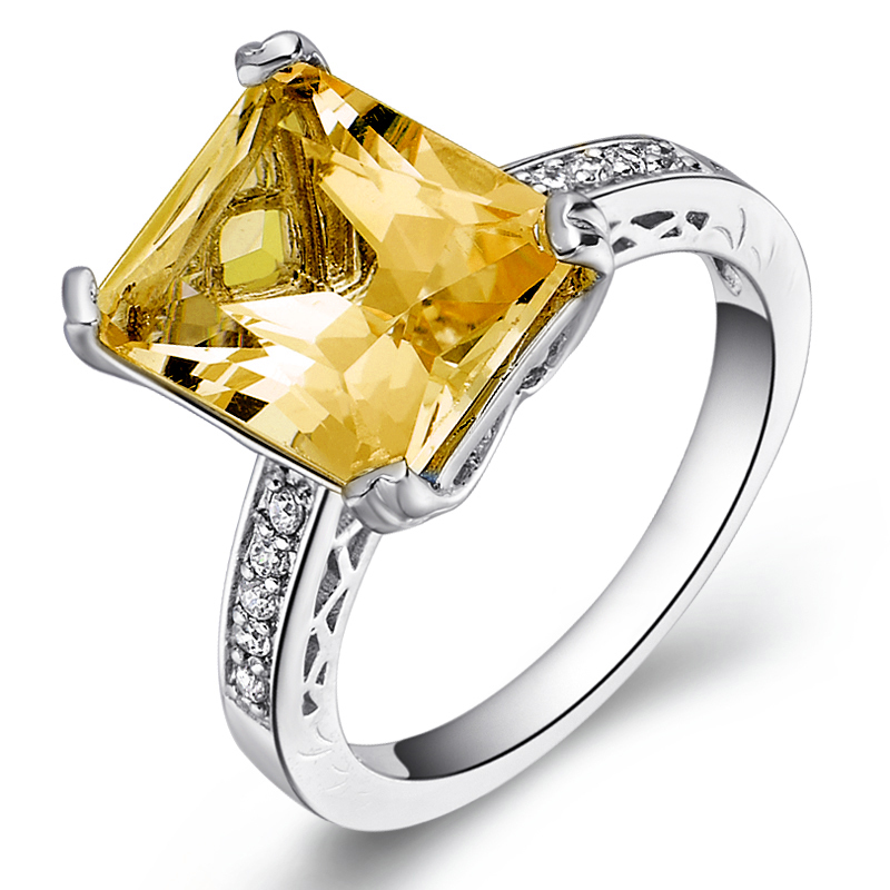 Natural Citrine Ring 925 Sterling Silver Yellow Crystal Woman Fashion Fine Elegant Jewelry Queen Lux Birthstone Gift sr0158c все цены