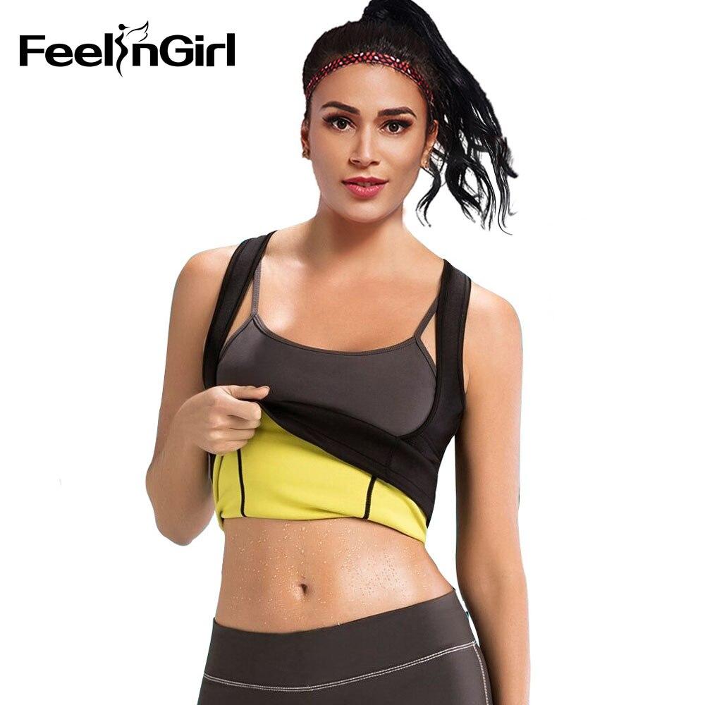 FeelinGirl Plus Size S-6XL Women Neoprene Shaperwear Traine Push Up Vest Tummy Belly