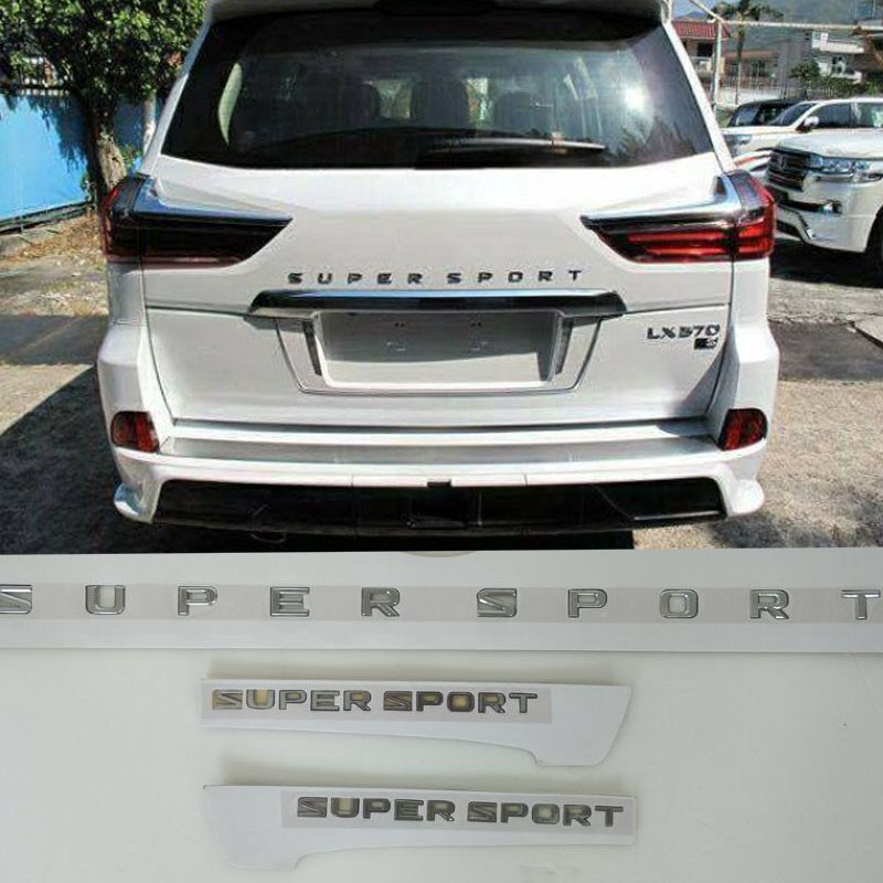 New ABS Chromed Supersport Letter Rear Emblem Side Marks For Lexus LX570 Land Cruiser Accessories 2013 2014 2015 2016 2017 2018