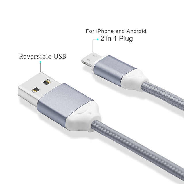 new products 829bc e8c38 US $2.69 |2PCS YFW Reversible USB Cable for Apple Lightning and Micro Nylon  Braided Cord For iPhone 6S 5S Xiaomi Power Bank Android Device-in Mobile ...