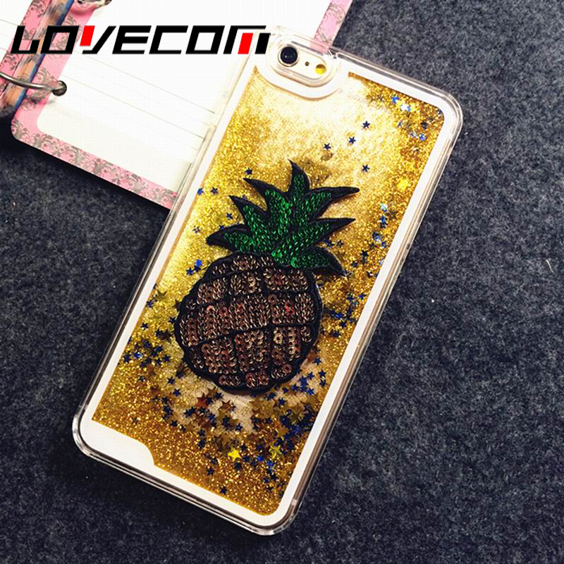 Lovecom diy phone case para iphone 4 4s 5 5s 5c se 6 6 s 7 más piña glitter star