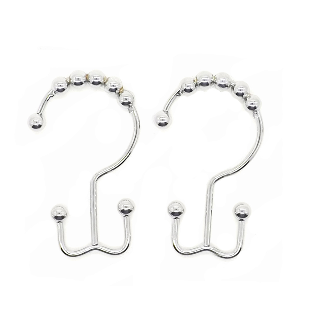 1 Pcs! Stainless Steel Chrome Color 8 Round Balls Roller Shower Curtain Ring Hook for Bathroom Rod
