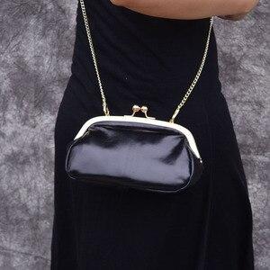 Image 2 - AETOO Clip pocket retro simple clip gold bag mini leather hand shoulder diagonal bag packet female