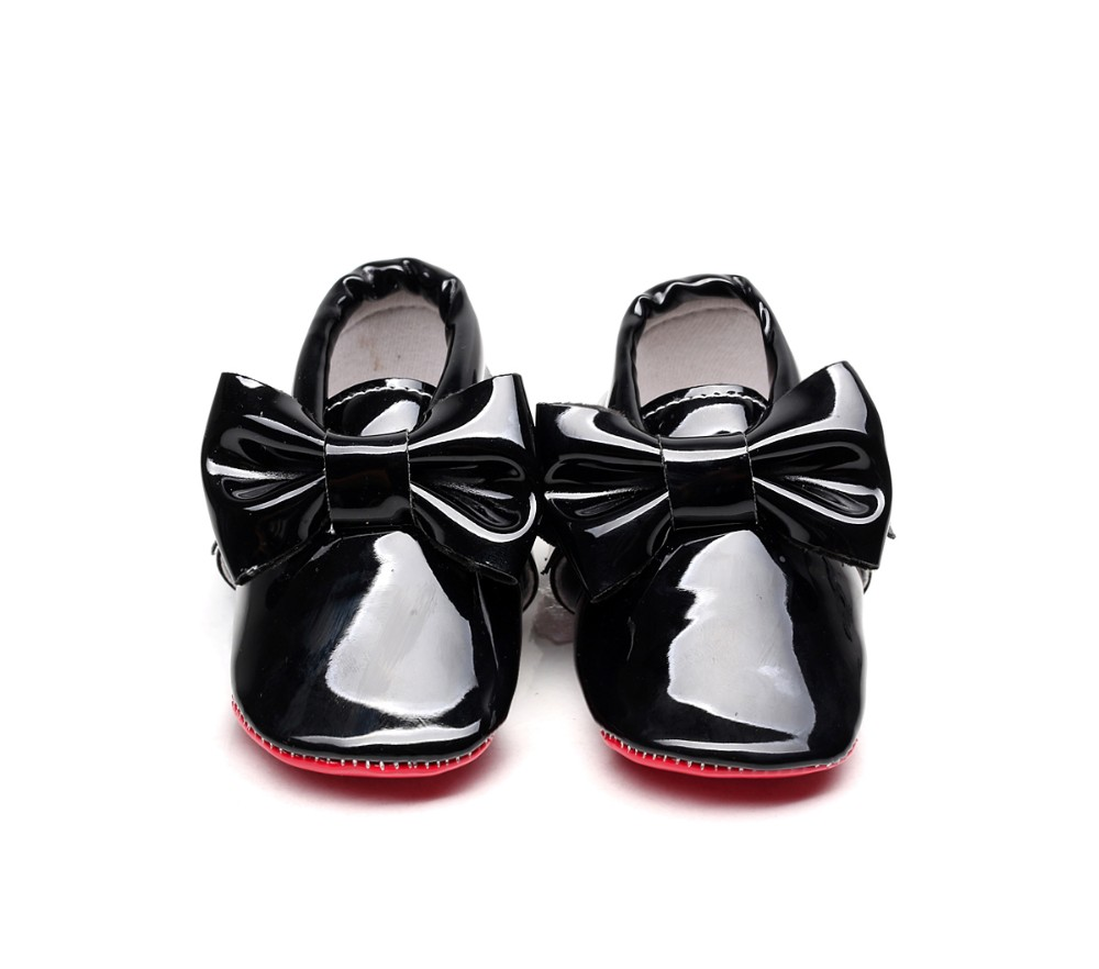 Red Bottom Patent Leather Baby Shoes For Girls Big Bow Newborn Baby Girls Moccasins Infant First Walker Crib Bebe Shoes 0-24M