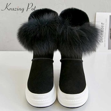 Snow-Boots Cow-Suede Waterproof-Design Lady Krazing Pot Sweet Fur Mid-Calf L51 Gorgeous