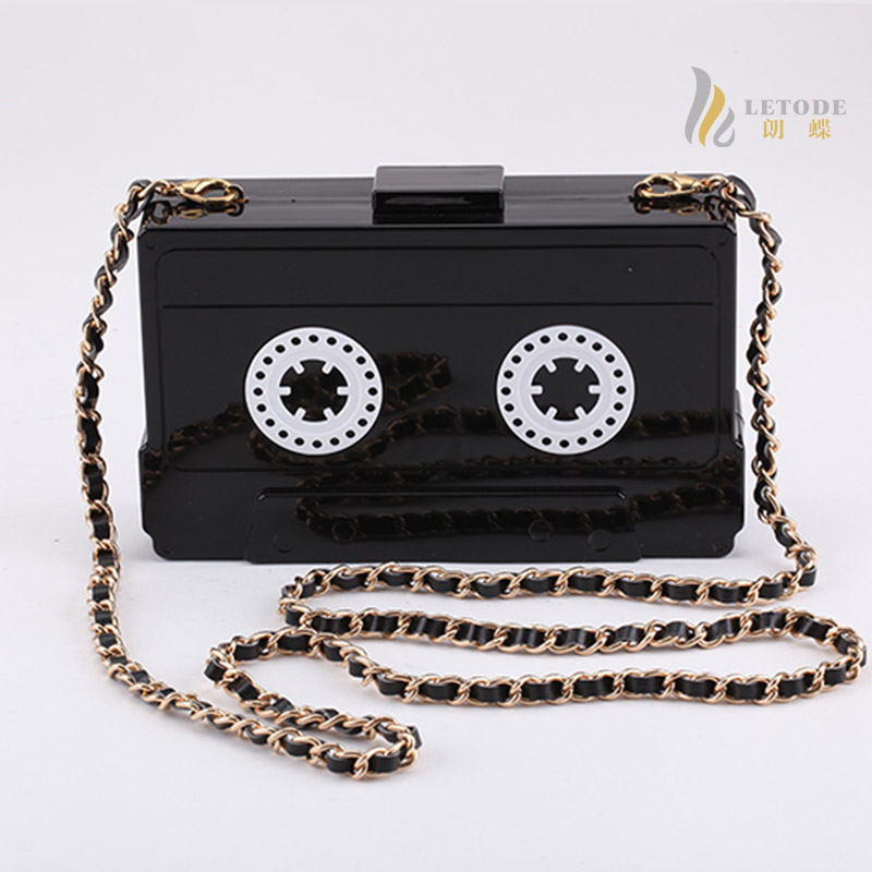 6241291def74 US $19.98 40% OFF|audio tape shaped acrylic Women's Handbag cassettes  evening clutch bag hard box high end wallet small party purse handbags  good-in ...