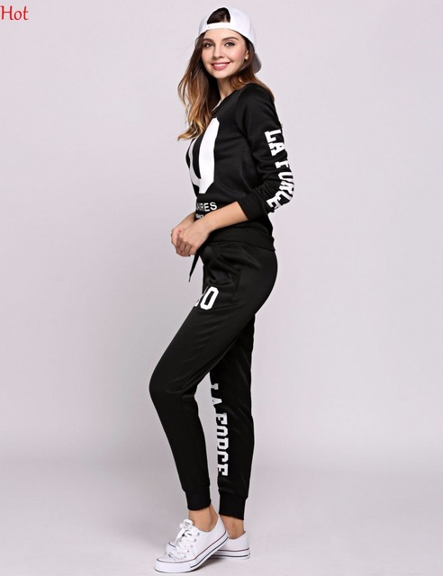 Spring Women 2Pcs Sets Hoodies Number Letters Printed Sweatshirt Sweat Pants Trousers Clothing Sets Fashion Casual Outwear Suit 4