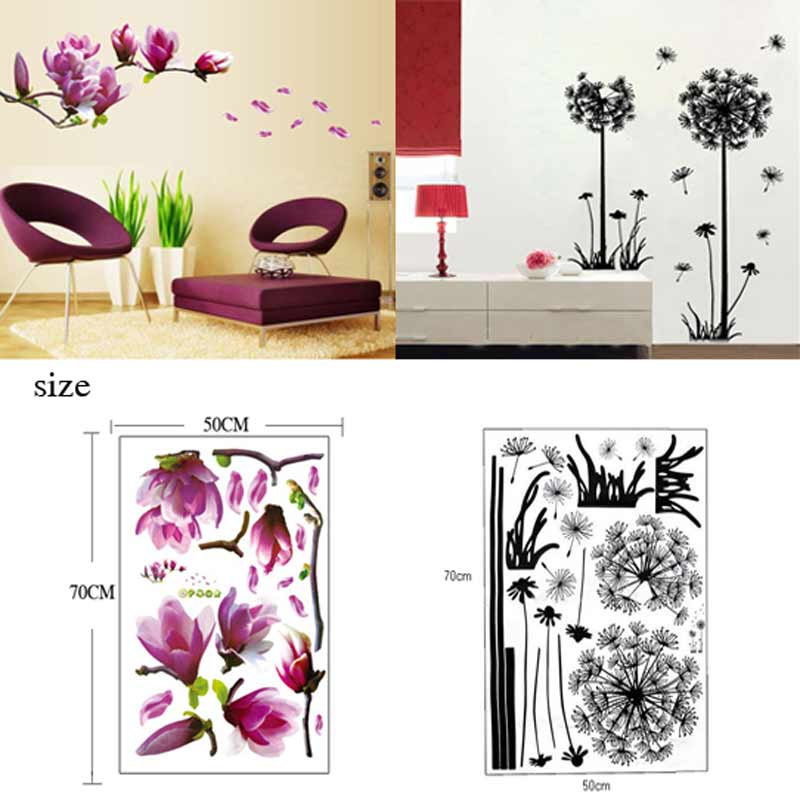 Tv Wall Stickers 3d Flying Dandelion Home Decor Magnolia Flower Wall Sticker Wallpaper Bedroom
